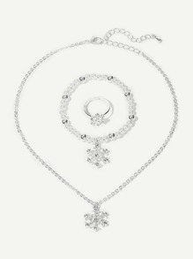 Ring & Snowflake Pedant Necklace & Faux Pearl Bracelet Set 3pcs