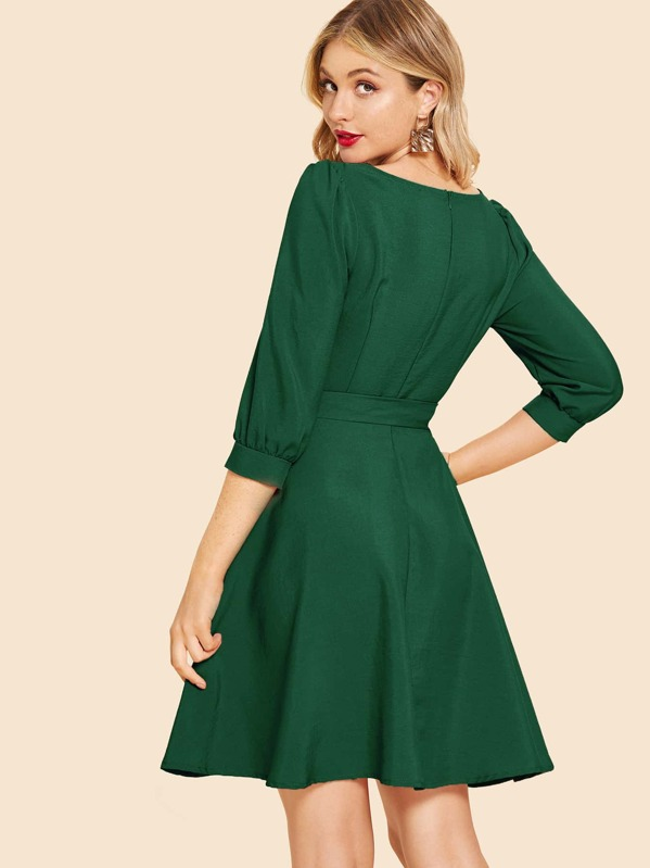 ddff1d8d0c Cheap 80s Button Front Belted V-neck Solid Dress for sale Australia | SHEIN