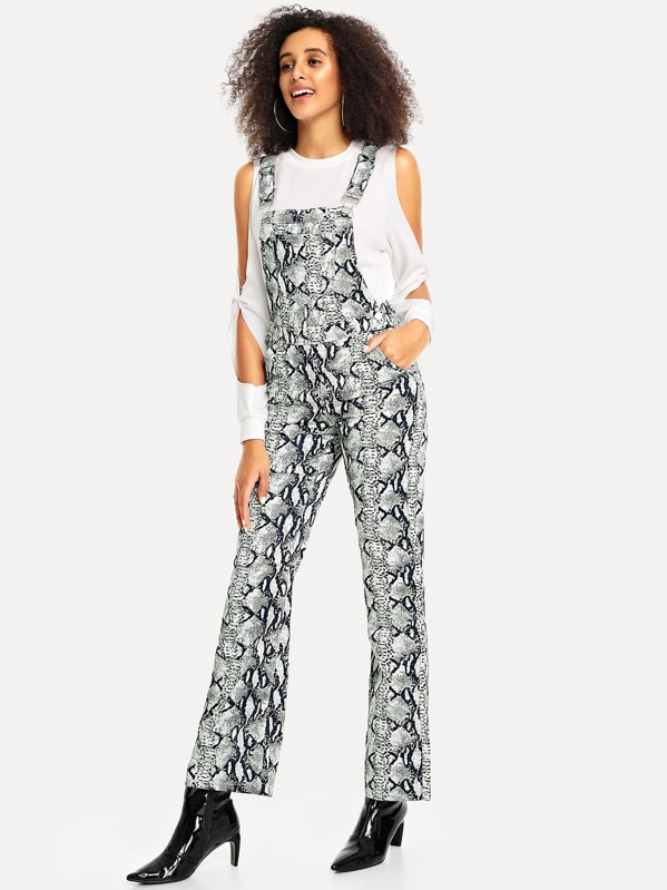 Clearance sale search for authentic how to serch Snake Skin Print Flare Leg Denim Jumpsuit