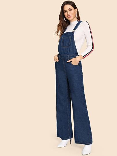 a71e3db5441 Pocket Front Wide Leg Denim Jumpsuit