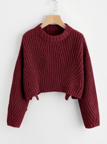 Plus Round Neck Slit Hem Sweater