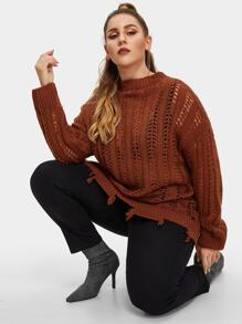 Plus Drop Shoulder Eyelet Raw Hem Sweater