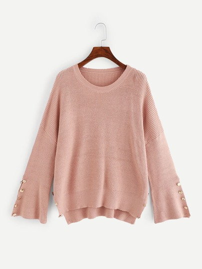 Plus Buttoned Trim Bell Sleeve Sweater