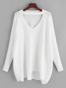 Plus V Cut Neck Solid Sweater