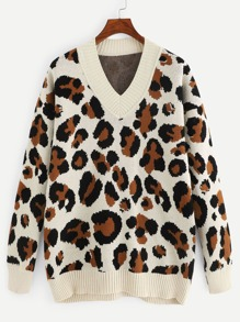 Contrast Trim Leopard Pattern Sweater