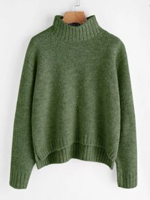 Plus Drop Shoulder Stepped Hem Jumper