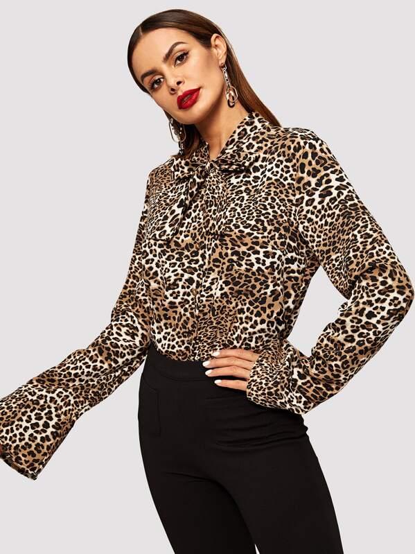 d05c8b3c26 Tie Neck Leopard Print Blouse | SHEIN UK
