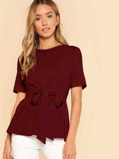 Self Belt Keyhole Back Solid Top