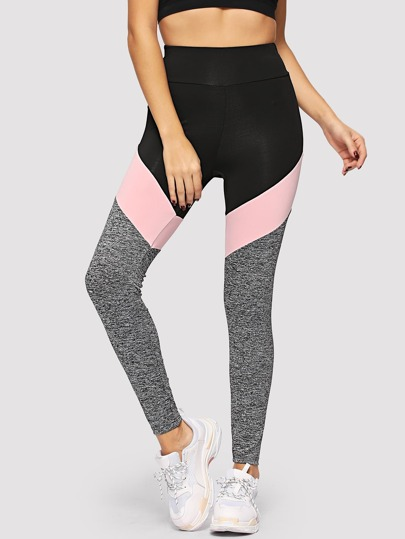 95affe5d74e9a Wide Waistband Marled Knit Colorblock Leggings