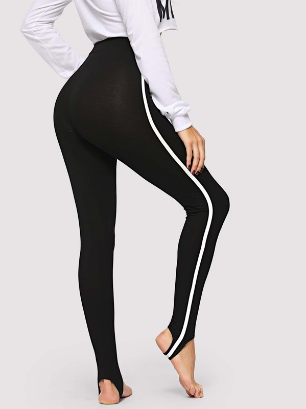 80c5b999f1f6b3 Contrast Side Seam Stirrup Leggings | SHEIN UK