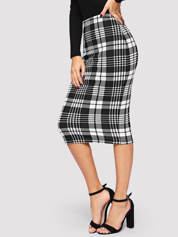 9d0daf803f Form Fitted Glen Plaid Pencil Skirt | SHEIN