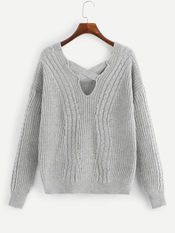 794f4da5819872 Crisscross-Back Cable Knit Jumper | SHEIN UK