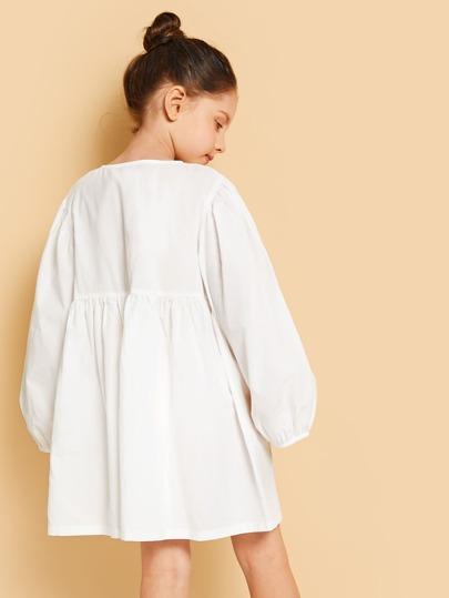 9facfb6b46de Girls Button Up Solid Dress