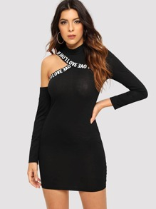 Cut-Out Shoulder Slogan Tape Bodycon Dress