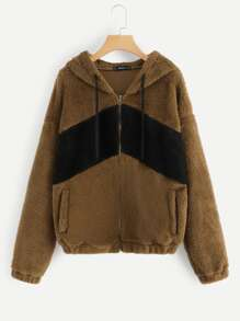 Two-Tone Zipper Teddy Jacket