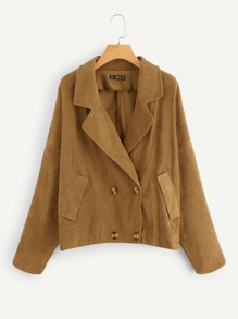 Plus Notch Collar Double Breasted Corduroy Coat