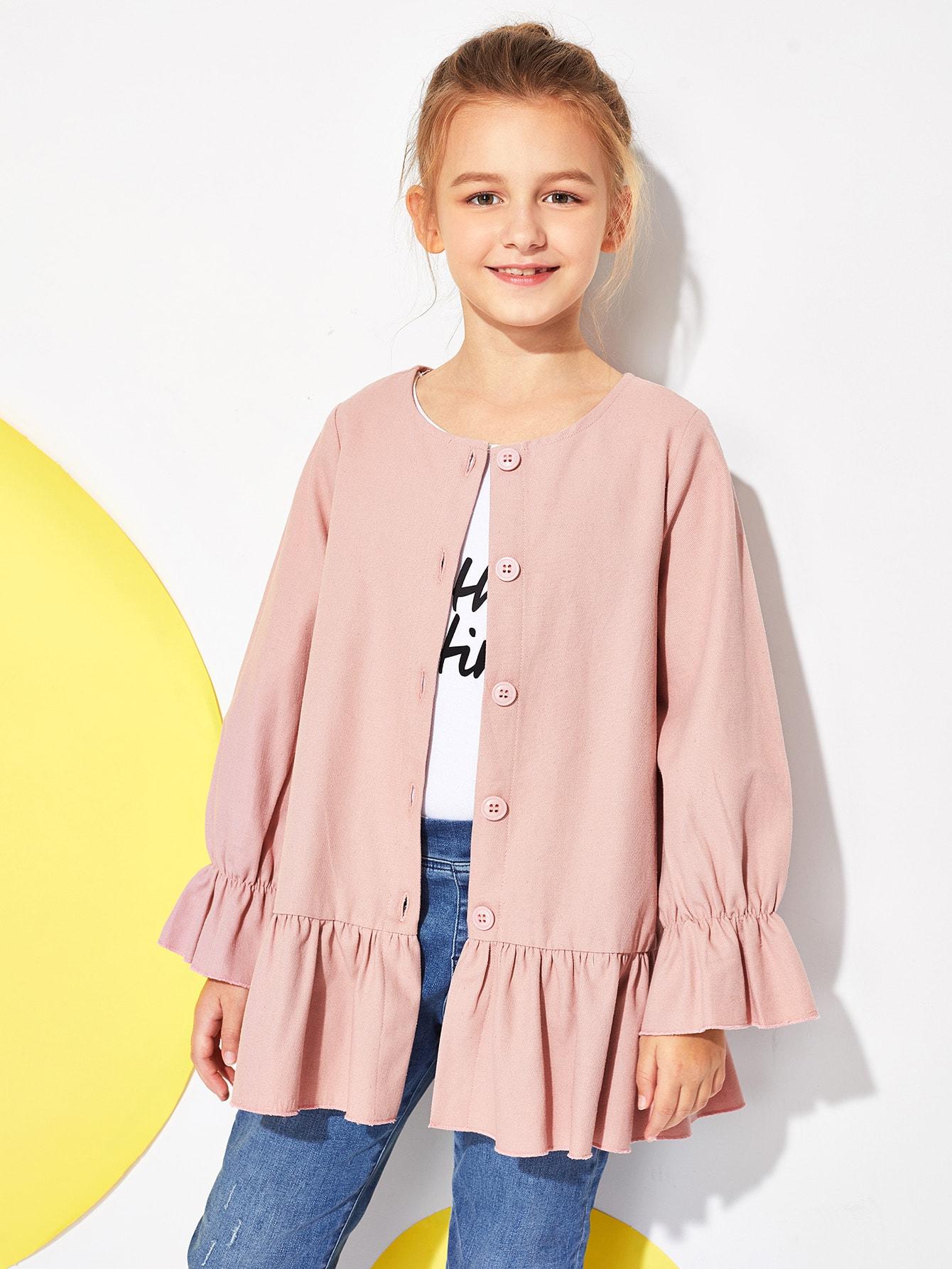 Girls Button Up Ruffle Trim Coat Girls Button Up Ruffle Trim Coat