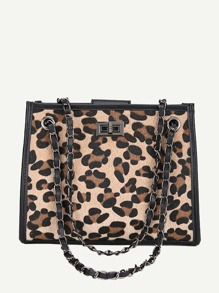 Leopard Print Chain Shoulder Bag