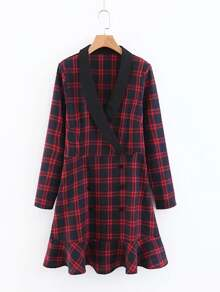 Shawl Collar Ruffle Hem Plaid Dress