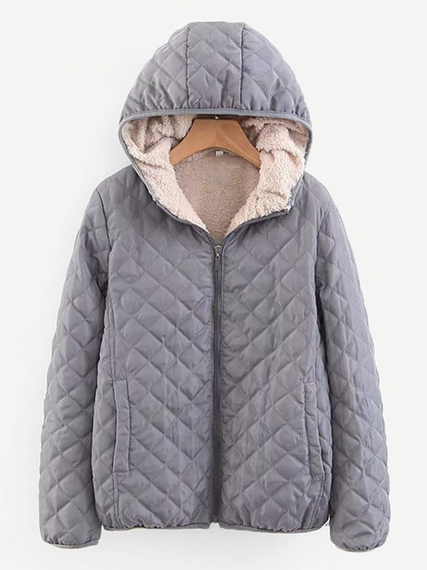 db16f96f92 Shearling Lined Quilted Hooded Puffer Jacket