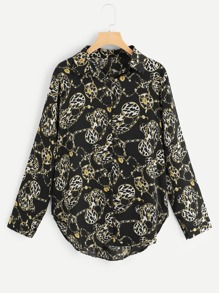 Plus Leopard And Chain Print Blouse