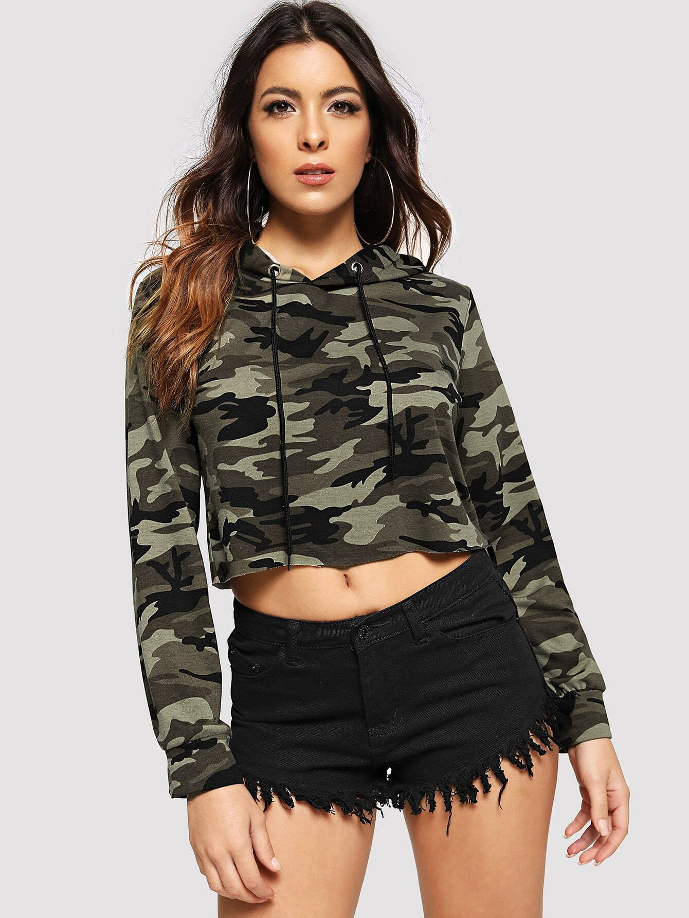 Camo Hooded Crop Sweatshirt Camo Hooded Crop Sweatshirt