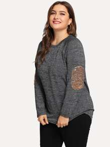 Plus Contrast Sequin Elbow Patch Tee