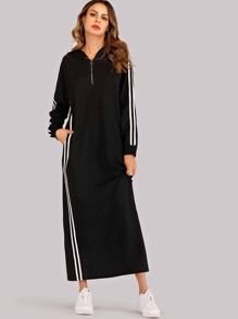 Quarter Zip Contrast Striped Side Hoodie Dress