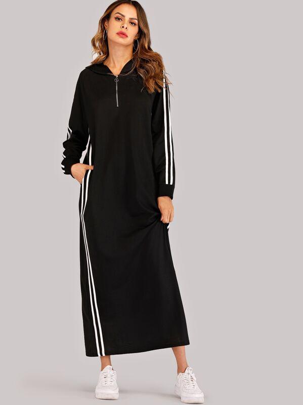 766b0de373d3ef9 Платье в полоску сбоку с кулиской и молнией | SHEIN