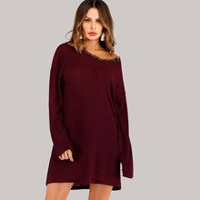 SHEIN | Contrast Lace Sweater Dress | Goxip