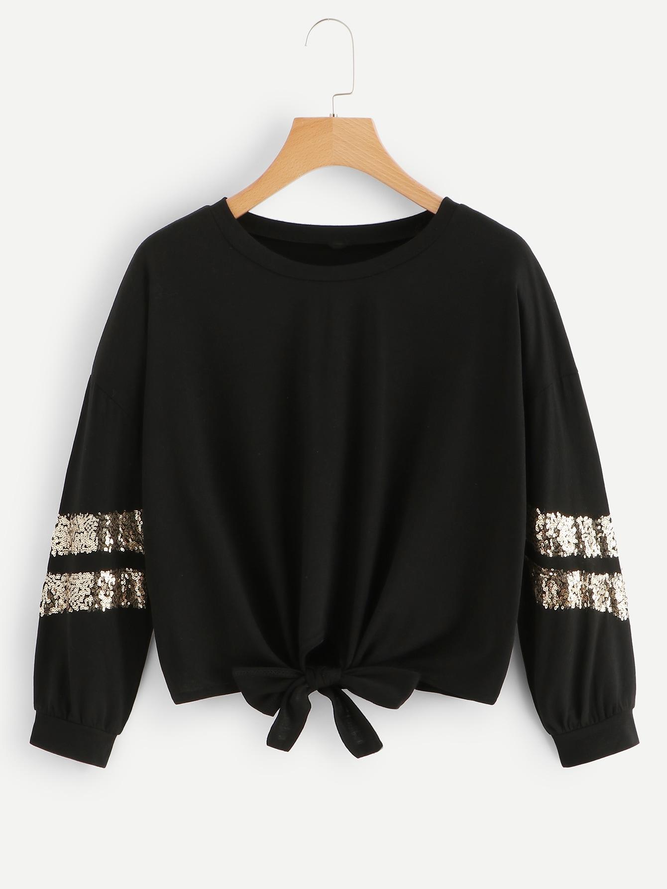 Contrast Sequin Knot Hem Sweatshirt Contrast Sequin Knot Hem Sweatshirt
