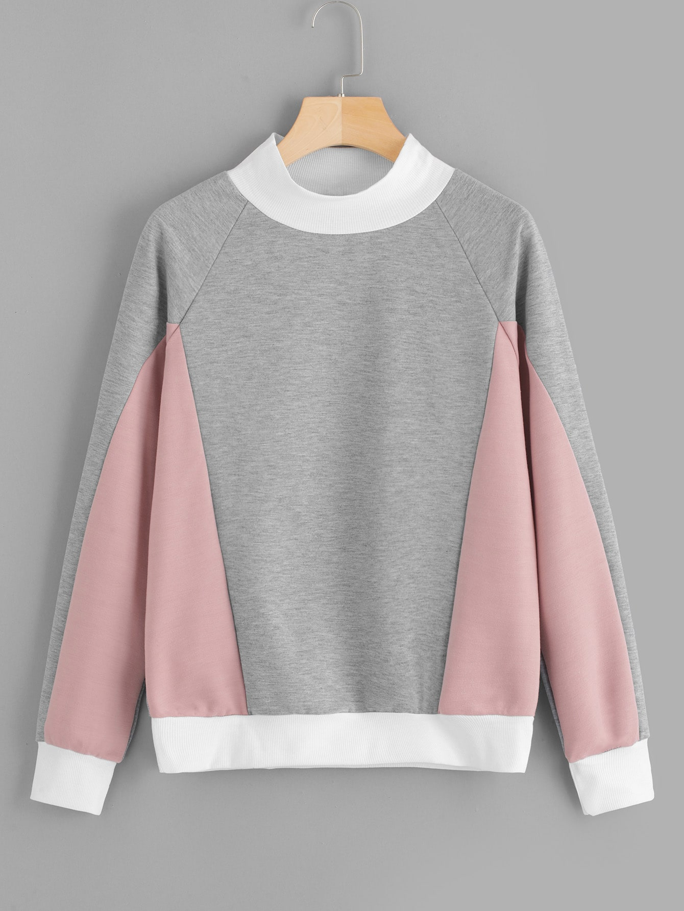 Raglan Sleeve Contrast Panel Sweatshirt Raglan Sleeve Contrast Panel Sweatshirt