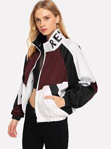 Color Block Letter Print Jacket