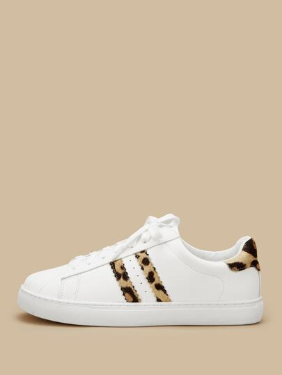 Leopard Print Lace-up Sneakers