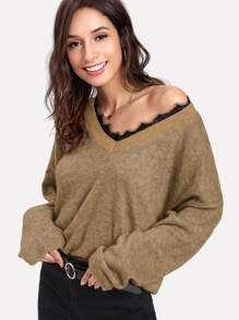 Lace Trim V Neck Jumper