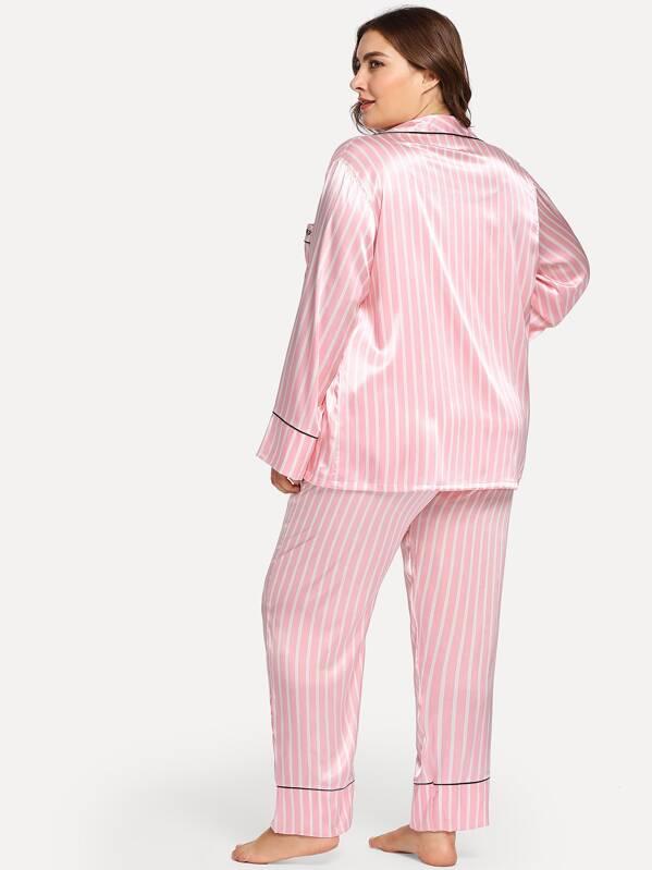 6088866f6 ملابس منزل مقاسات كبيرة الزر الخط وردي غير الرسمي   شي إن