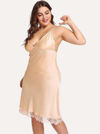 dfc9392d072 Plus Floral Lace Trim Satin Cami Dress
