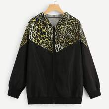 Plus Cut-and-sew Leopard Print Jacket