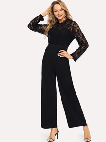 Lace Applique Solid Jumpsuit