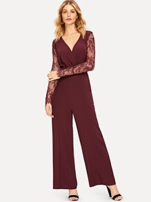 Mesh Sleeve Surplice Wrap Jumpsuit