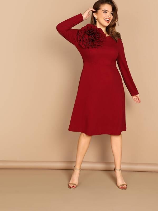 fb1faedd02 Plus Exaggerate Ruffle Detail Dress | SHEIN