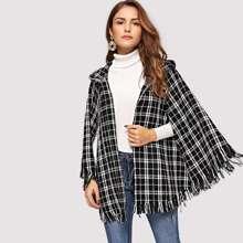 Image of Fringe Trim Hooded Tweed Cape Coat