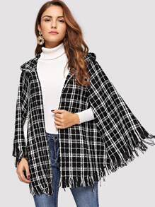 Fringe Trim Hooded Tweed Cape Coat