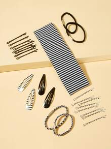 Striped Hair Accessories Set 25pcs