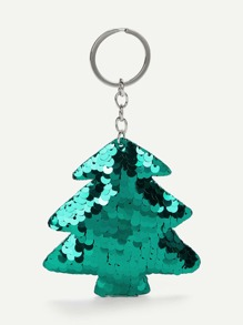 Sequin Overlay Pine Shaped Keychain