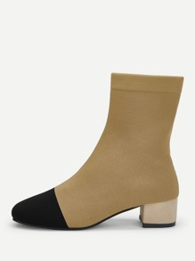 Cap Toe Block Heeled Sock Boots