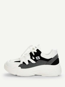 Lace-up Mesh Panel Sneakers