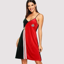Multicolor Casual Sleeveless Cartoon Night Dresses Colorblock Fall Loungewear, size features are:Sleeve Length : Sleeveless,
