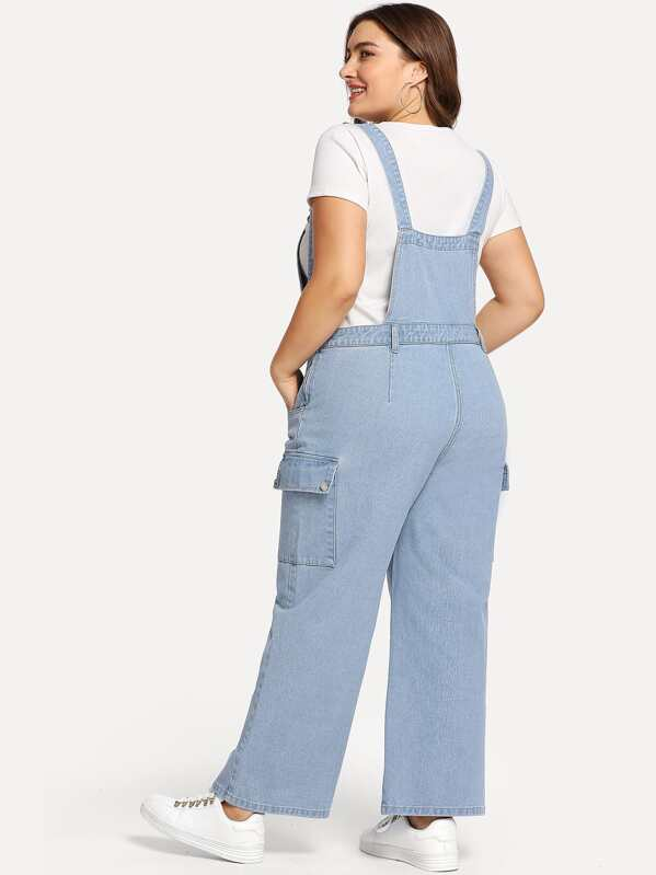 700b17ee00a Plus Pocket Front Wide Leg Denim Pinafore Jumpsuit