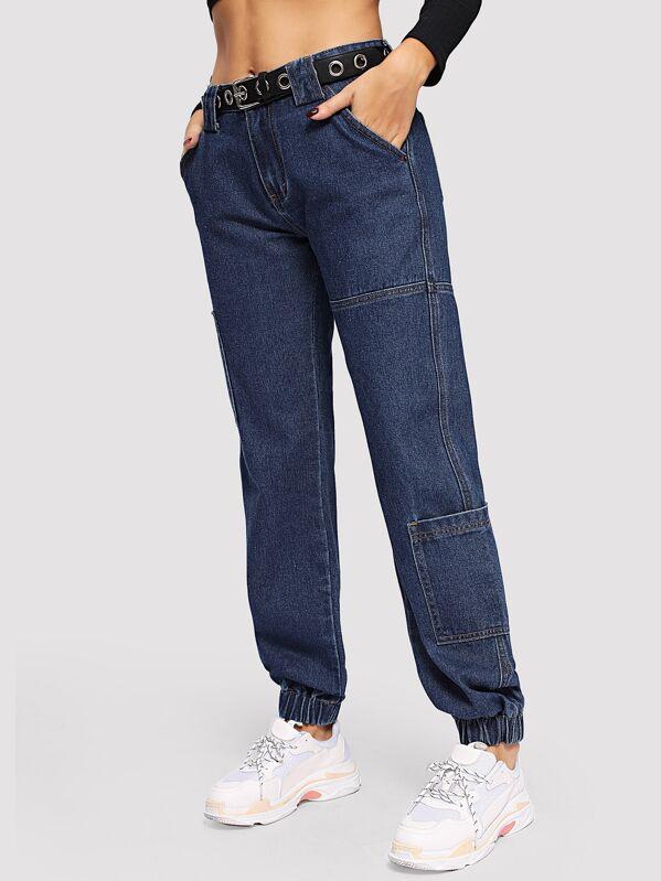 c8ddbc680b51a بنطلون جينز مدبب بهدب مرن بدون حزام